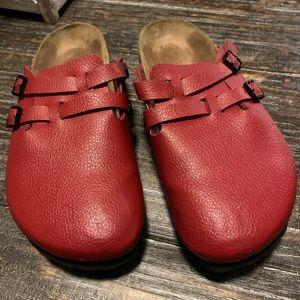 Birkenstock Birki's Camden Red Leather Mules 8.5
